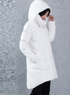 Solid Color Hooded Loose Down Coat