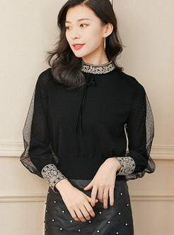 Mock Neck Embroidered Mesh Patchwork Sweater