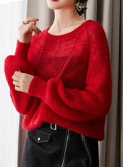 Crew Neck Lantern Sleeve Beading Fuzzy Sweater