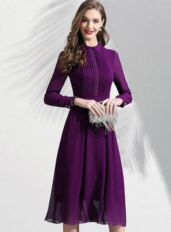 Waist Pleated A Line Dress
