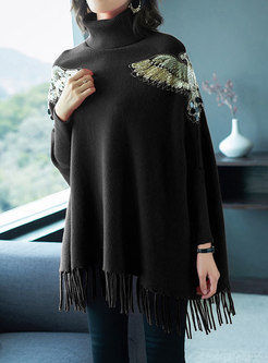 Turtleneck Bat Sleeve Fringed Embroidered Sweater