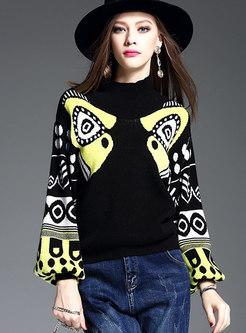 Mock Neck Lantern Sleeve Color-blocked Sweater