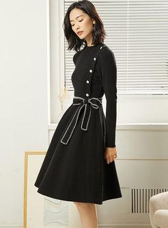 Stand Collar Waist Tie A Line Sweater Dress