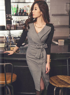 Long Sleeve Patchwork Wrap Bodycon Dress