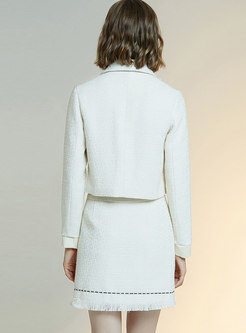 Tweed Bowknot Fringed Slim Suit Dress