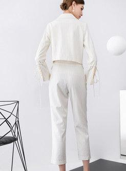 Solid Color Short Top Tie Pant Suits