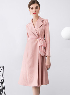 Notched Color-blocked Tie Striped A Line Dress