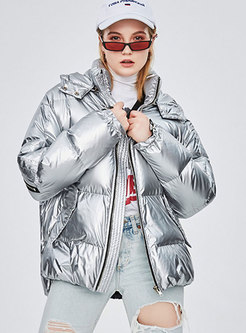 Hooded Loose High Shine Puffer Jacket