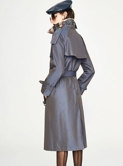 Notched Long Loose Trench Coat