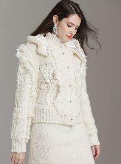 White Hooded Zipper Fringed Sweater Coat