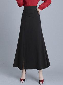 Black High Waisted Slit A Line Skirt