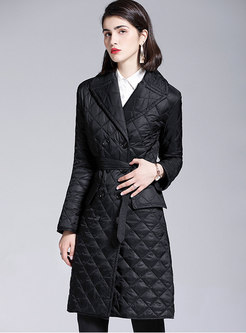 Notched Diamond Packable Down Coat