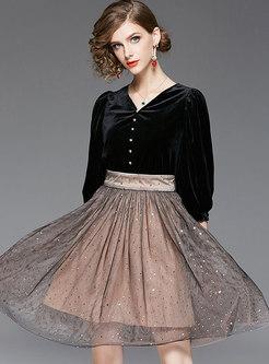 V-neck High Waisted Patchwork Color-blocked Mesh Skater Dress