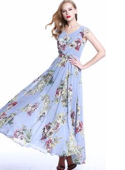 V-neck High Waisted Print Big Hem Maxi Dress