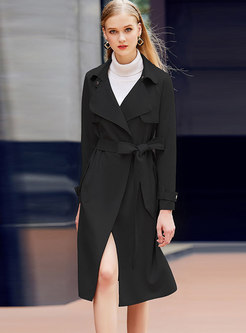 Solid Color A Line Waisted Overcoat With Belt