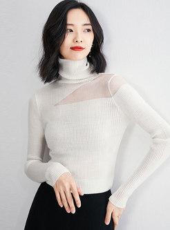 Turtleneck Mesh Patchwork Slim Sweater