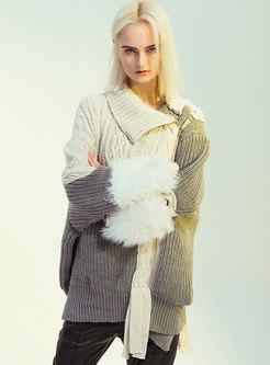Color-blocked Asymmetric Side Zipper Sweater