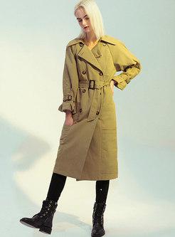 Lapel Plaid Patchwork Reversible Trench Coat
