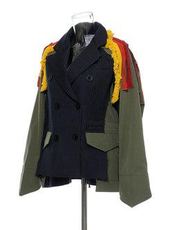 Notched Collar Fringed Short Track Jacket