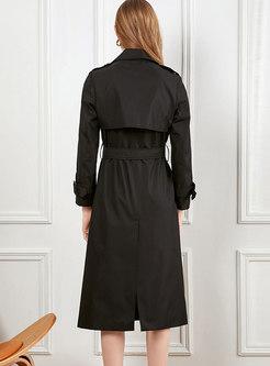 Black Long Sleeve Long Trench Coat