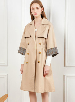Khaki Lapel Patchwork Plaid Trench Coat