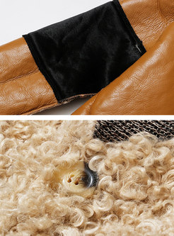 Color-blocked Long Sleeve Teddy Bear Jacket
