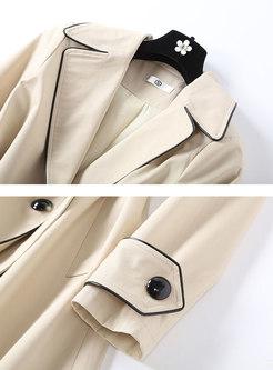 Khaki Notched Trench Coat With Belt
