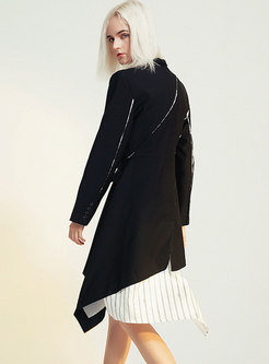 Black Long Sleeve Blazer A Line Dress