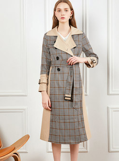 Notched Plaid Patchwork Long Trench Coat