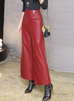 High Waisted Thicken Straight PU Pants