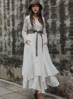 O-neck High Waist Hem Asymmetric Maxi Dress