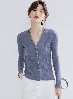 Solid Color V-neck Lace Splicing Cardigan