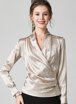Brief Solid Color V-neck Pullover Blouse