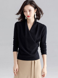 Solid Color V-neck Cross Sweater
