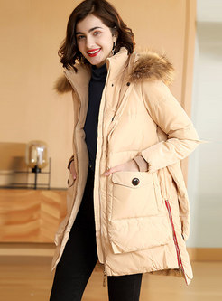 Hooded Straight Patchwork Orolay Coat