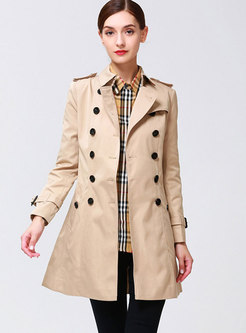 Solid Color Lapel Slim Trench Coat