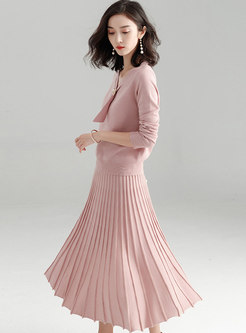 V-neck Long Sleeve Pleated Sweater Suit Dress