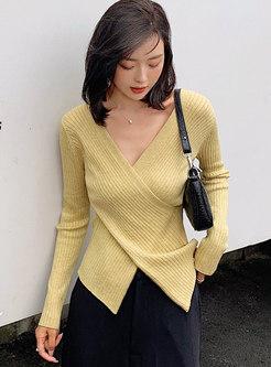 V-neck Cross Asymmetric Slim Sweater