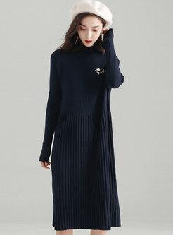 Turtleneck Pullover Loose Sweater Dress