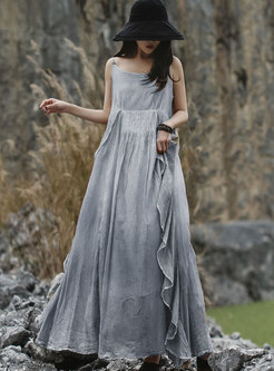 Crew Neck Sleeveless Maxi Dress