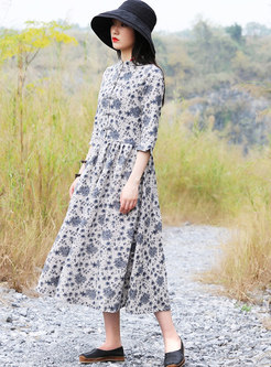 Mandarin Collar Floral A Line Dress