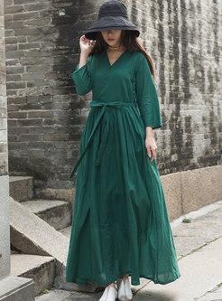 V-neck Long Sleeve A Line Wrap Maxi Dress