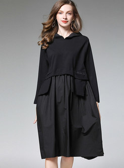 Hooded Patchwork A Line Dress
