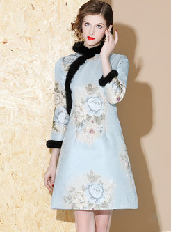 Mandarin Collar Patchwork A Line Dress