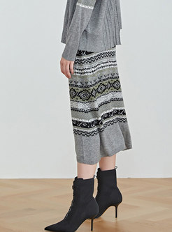 High Waisted Print Sweater Skirt