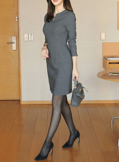 Grey Crew Neck Office Slim Bodycon Dress