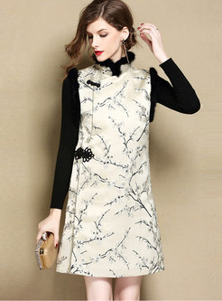Jacquard Sleeveless Thick Cheongsam Dress