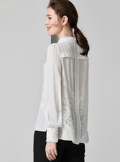 Mock Neck Patchwork Lace Lantern Sleeve Blouse