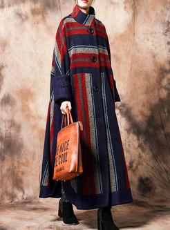 Mock Neck Striped Patchwork Long Coat