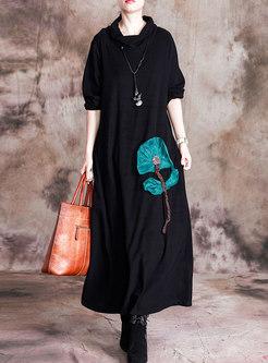 Cowl Neck Long Sleeve Long Sweater Dress